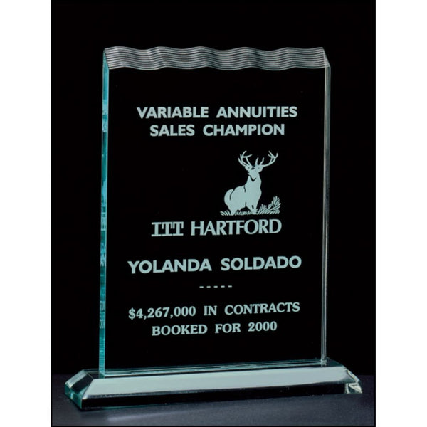 "Tidal Series, 3/4"" thick polished acrylic award on acrylic base, 3 Sizes"