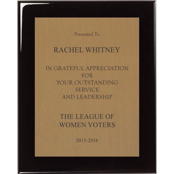 Sales and Leadership Award, Black-Piano-Finish-Plaque-with-Satin-Gold-Brass-Plate