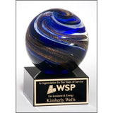 Service Award, Art_glass_globe_with_blue__white_and_metallic_gold_highlights