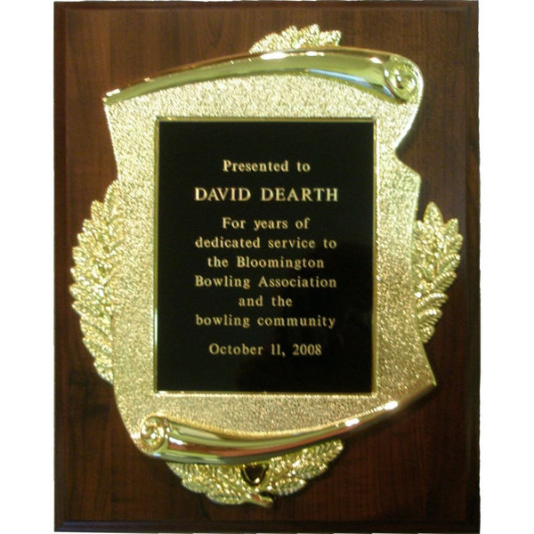 Cherry Finish Plaque with Scroll Plaque Mount and Colored Brass Plate