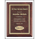 Service Award, Cherry-Finish-Wood-Plaque-with-Ruby-Marble-Brass
