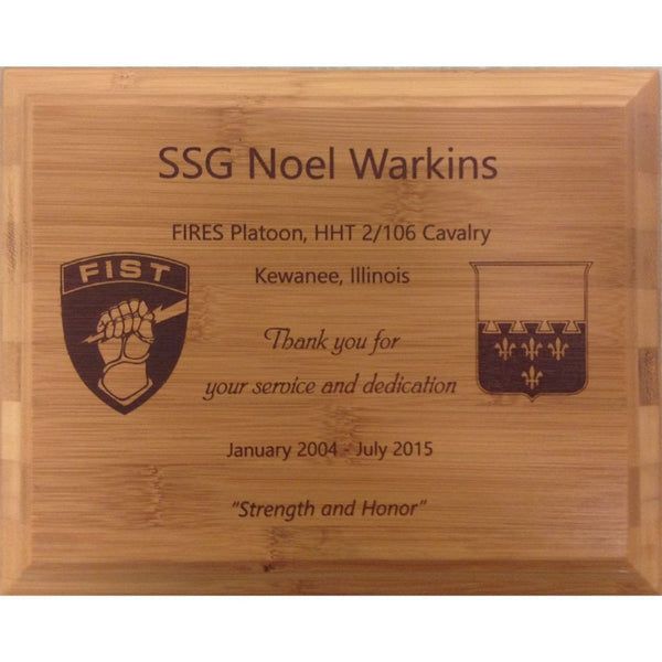 Genuine Bamboo Plaque with Laser Dark, 6 Sizes