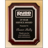 Service Award, Rosewood-Piano-Finish-Notched-Corners-Plaque-with-Silver-Florentine-Leaf-Design-Plate