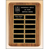 Service Award, Solid-American-Walnut-Perpetual-Eliptical-Plaque-with-Large-Black-Brass-Plates