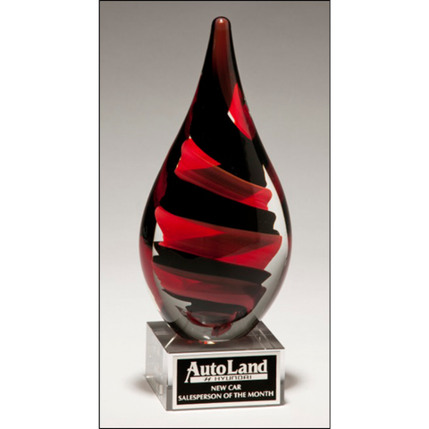 Black and Red Helix Art Glass Award with Clear Glass Base