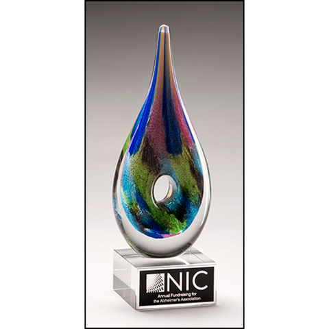 Multi-Colored Art Glass Award with Clear Glass Base