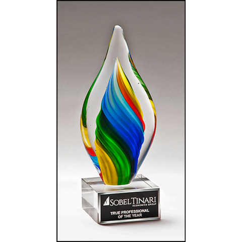 Rainbow Colored Twist Art Glass Award with Clear Glass Base