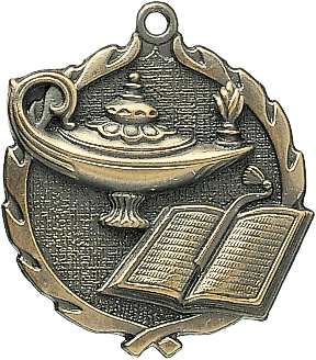 "Knowledge Wreath Medal, 1 3/4"" in gold"