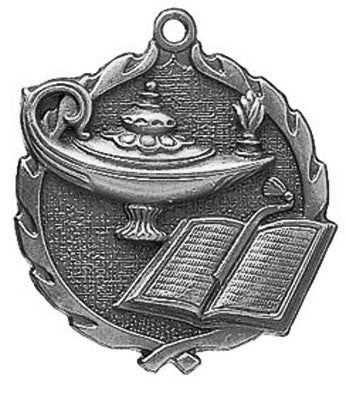 "Knowledge Wreath Medal, 1 3/4"" in silver"