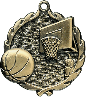 "Basketball Wreath Medal, 1 3/4"" in gold"