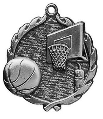 "Basketball Wreath Medal, 1 3/4"" in silver"