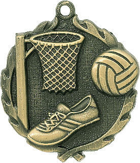 "Netball Wreath Medal, 1 3/4"" in gold"