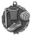 "Netball Wreath Medal, 1 3/4"" in silver"