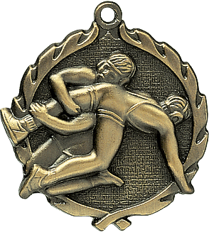 "Wrestling Wreath Medal, 1 3/4"" in gold"