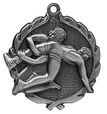 "Wrestling Wreath Medal, 1 3/4"" in silver"