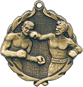 "Boxing Wreath Medal, 1 3/4"" in gold"
