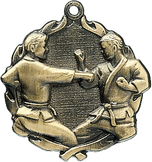 "Karate Wreath Medal, 1 3/4"" in gold"
