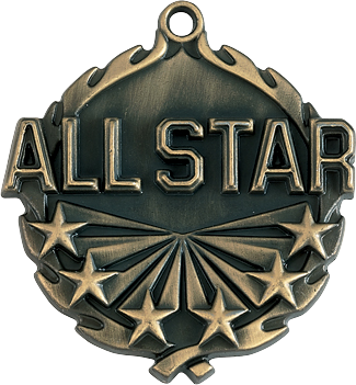 "All Star Wreath Medal, 1 3/4"" in gold"