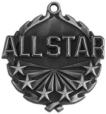 "All Star Wreath Medal, 1 3/4"" in silver"