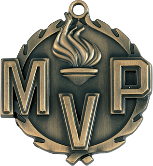 "MVP Wreath Medal, 1 3/4"" in gold"
