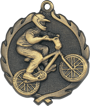 "BMX Wreath Medal, 1 3/4"" in gold"