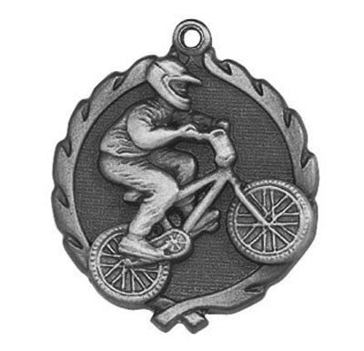 "BMX Wreath Medal, 1 3/4"" in silver"