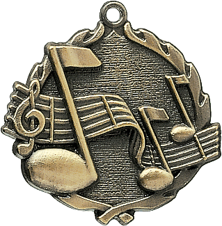 "Music Wreath Medal, 1 3/4"" in gold"