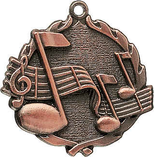 "Music Wreath Medal, 1 3/4"" in bronze"