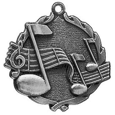 "Music Wreath Medal, 1 3/4"" in silver"