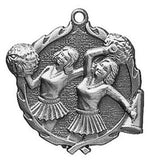 "Cheer Wreath Medal, 1 3/4"" in silver"