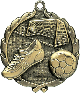 "Soccer Wreath Medal, 1 3/4"" in gold"