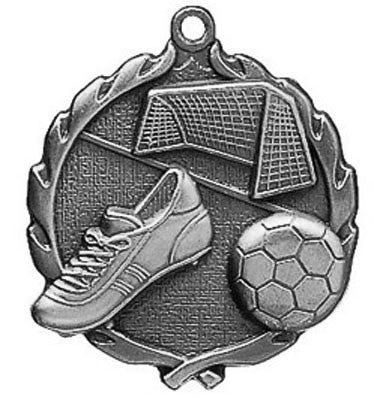 "Soccer Wreath Medal, 1 3/4"" in silver"