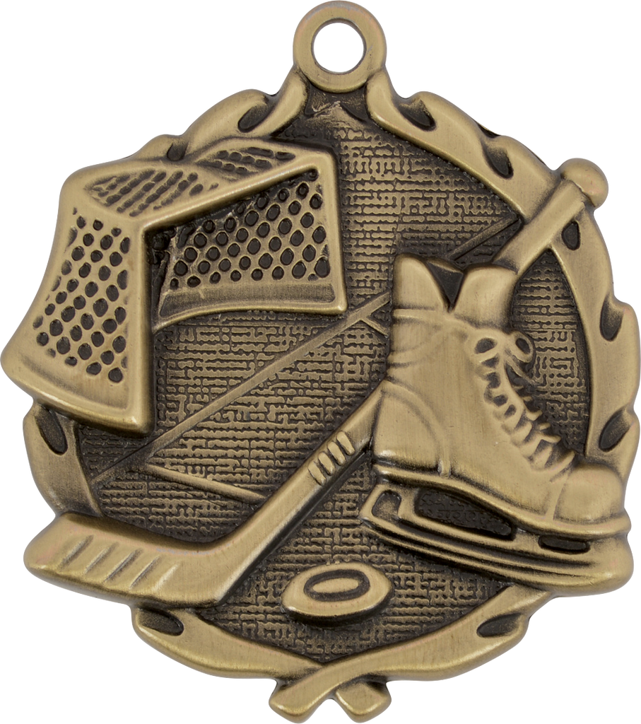 "Hockey Wreath Medal, 1 3/4"" in gold"