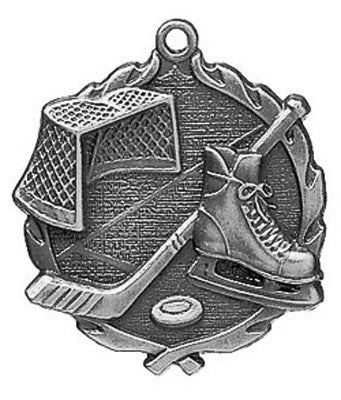 "Hockey Wreath Medal, 1 3/4"" in silver"