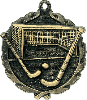 "Field Hockey Wreath Medal, 1 3/4"" in gold"