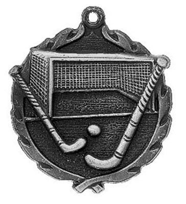 "Field Hockey Wreath Medal, 1 3/4"" in silver"