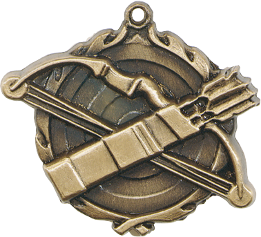 "Archery Wreath Medal, 1 3/4"" in gold"
