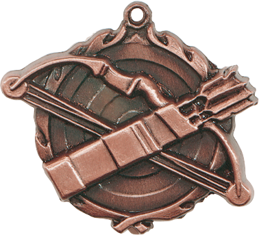 "Archery Wreath Medal, 1 3/4"" in bronze"