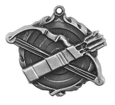 "Archery Wreath Medal, 1 3/4"" in silver"