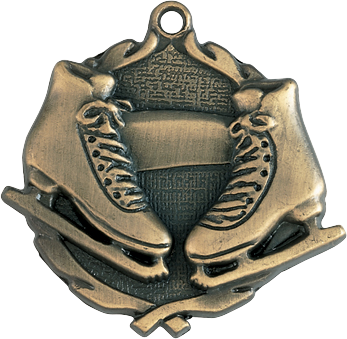 "Ice Skating Wreath Medal, 1 3/4"" in gold"
