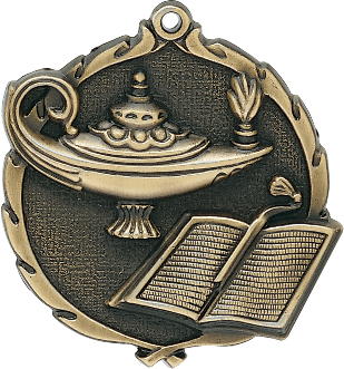 "Knowledge Wreath Medal, 2 1/2"" in gold"