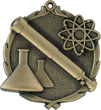 "Science Wreath Medal, 2 1/2"" in gold"