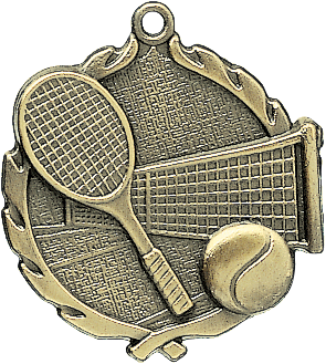"Tennis Wreath Medal, 2 1/2"" in gold"