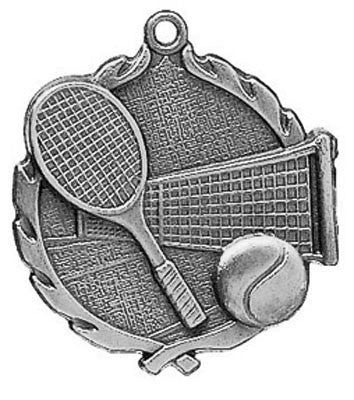 "Tennis Wreath Medal, 2 1/2"" in silver"