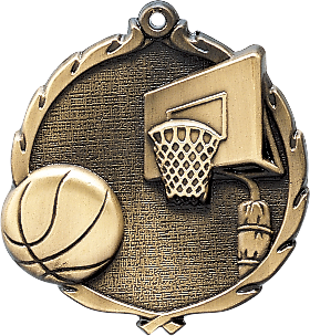 "Basketball Wreath Medal, 2 1/2"" in gold"