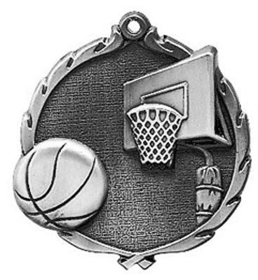 "Basketball Wreath Medal, 2 1/2"" in silver"