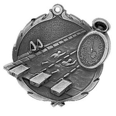 "Swimming Wreath Medal, 2 1/2"" in silver"