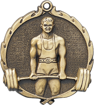 "Weightlifting Wreath Medal, 2 1/2"" in gold"