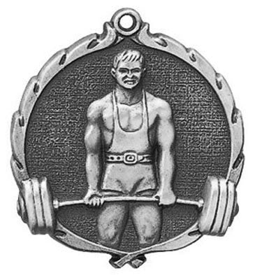 "Weightlifting Wreath Medal, 2 1/2"" in silver"
