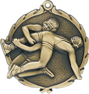 "Wrestling Wreath Medal, 2 1/2"" in gold"
